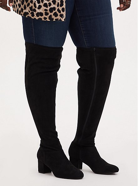 Plus Size Black Faux Suede Woven Block Heel Over-The-Knee Boot (WW), BLACK, hi-res