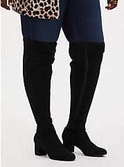 Black Faux Suede Woven Block Heel Over-The-Knee Boot (WW), BLACK, hi-res