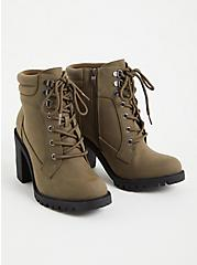 Plus Size Olive Green Faux Leather Lace-Up Hiker Boot (WW), OLIVE, alternate