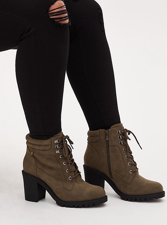 Olive Green Faux Leather Lace-Up Hiker Boot (WW), OLIVE, hi-res