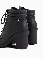 Plus Size Black Faux Leather Lace-Up Hiker Boot (WW), BLACK, alternate