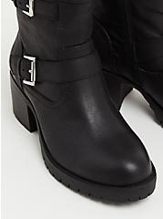 Black Faux Leather Motorcycle Boot (WW), BLACK, alternate