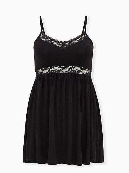 Super Soft Black Lace Inset Sleep Chemise, DEEP BLACK, hi-res