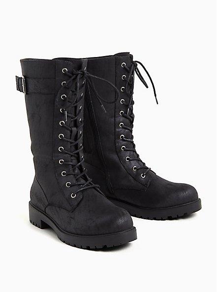 Black Oiled Faux Suede Lace-Up Combat Bootie (WW), BLACK, alternate