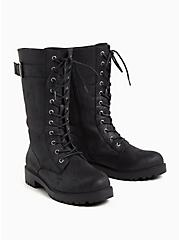 Black Oiled Faux Suede Lace-Up Combat Bootie (WW), BLACK, alternate