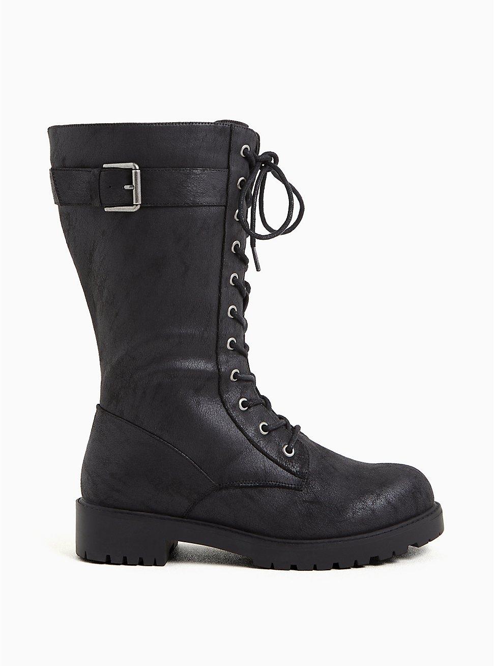 Plus Size Black Oiled Faux Suede Lace-Up Combat Bootie (WW), BLACK, hi-res