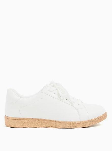 White Faux Leather & Glitter Sole Lace-Up Sneaker (WW), WHITE, alternate