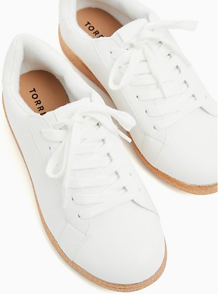 White Faux Leather & Glitter Sole Lace-Up Sneaker (WW), WHITE, hi-res