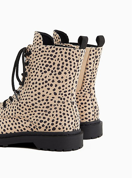 Plus Size Leopard Faux Leather Lace-Up Combat Boot (WW), ANIMAL, alternate