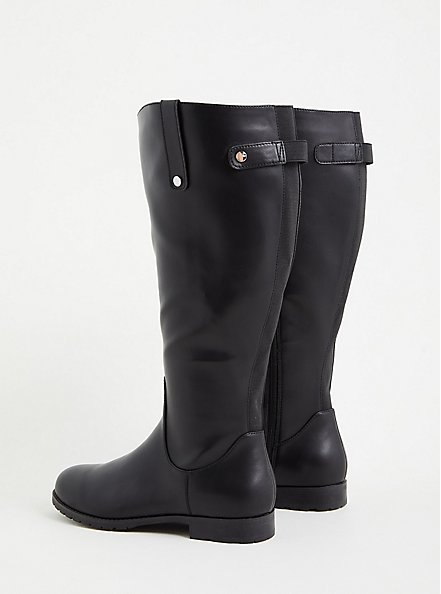 Black Faux Leather Knee-High Riding Boot (WW), BLACK, alternate