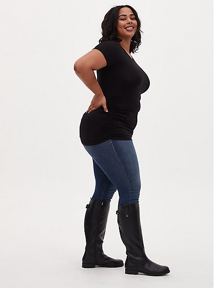 Black Faux Leather Knee-High Riding Boot (WW), BLACK, hi-res
