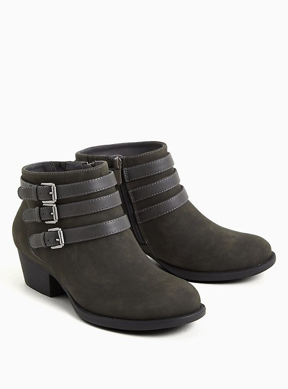 Dark Grey Faux Suede Triple Strap Bootie (WW), GREY, ls