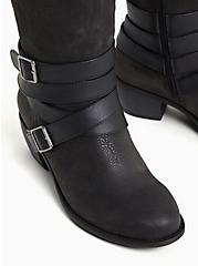 Black Oiled Faux Leather Strappy Knee-High Boot (WW), BLACK, alternate