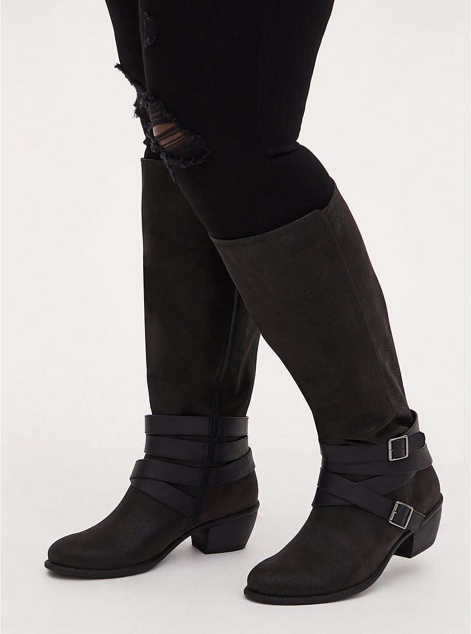 Black Oiled Faux Leather Strappy Knee-High Boot (WW), BLACK, hi-res