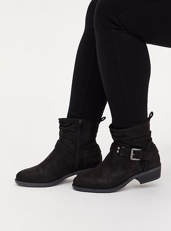 Black Faux Suede Slouchy Moto Boot (WW), BLACK, hi-res