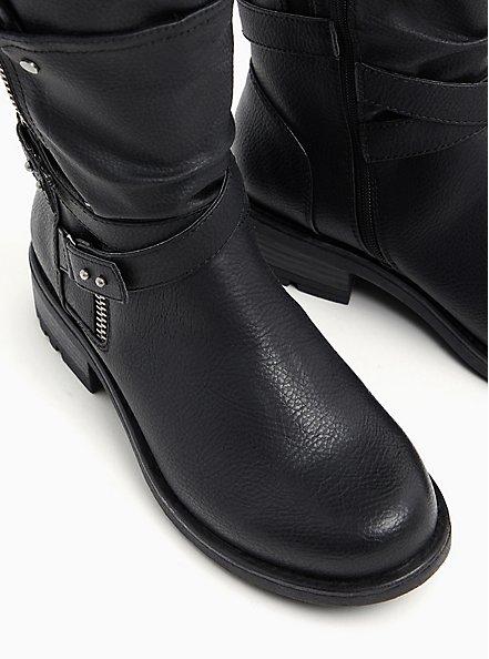 Plus Size Black Faux Pebble Leather Strappy Moto Boot (WW), BLACK, alternate