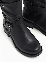 Black Faux Pebble Leather Strappy Moto Boot (WW), BLACK, alternate