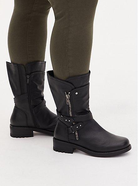 Plus Size Black Faux Pebble Leather Strappy Moto Boot (WW), BLACK, hi-res