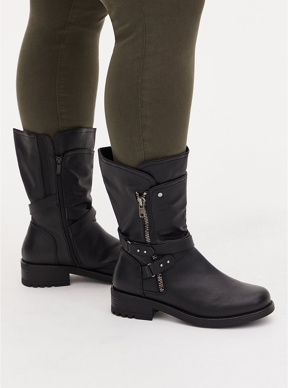 Plus Size Black Faux Pebble Leather Strappy Moto Boot (WW), , hi-res