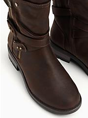 Chestnut Faux Leather Strappy Moto Boot (WW), BROWN, alternate
