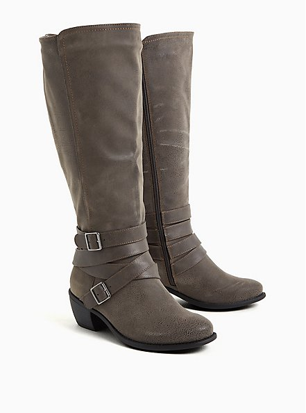 Grey Oiled Faux Leather Strappy Knee-High Boot (WW), GREY, alternate