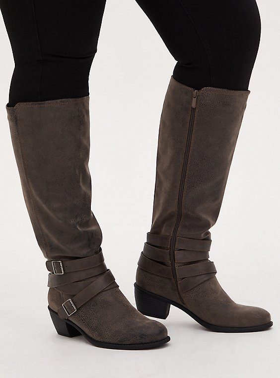 Plus Size Grey Oiled Faux Leather Strappy Knee-High Boot (WW), GREY, hi-res