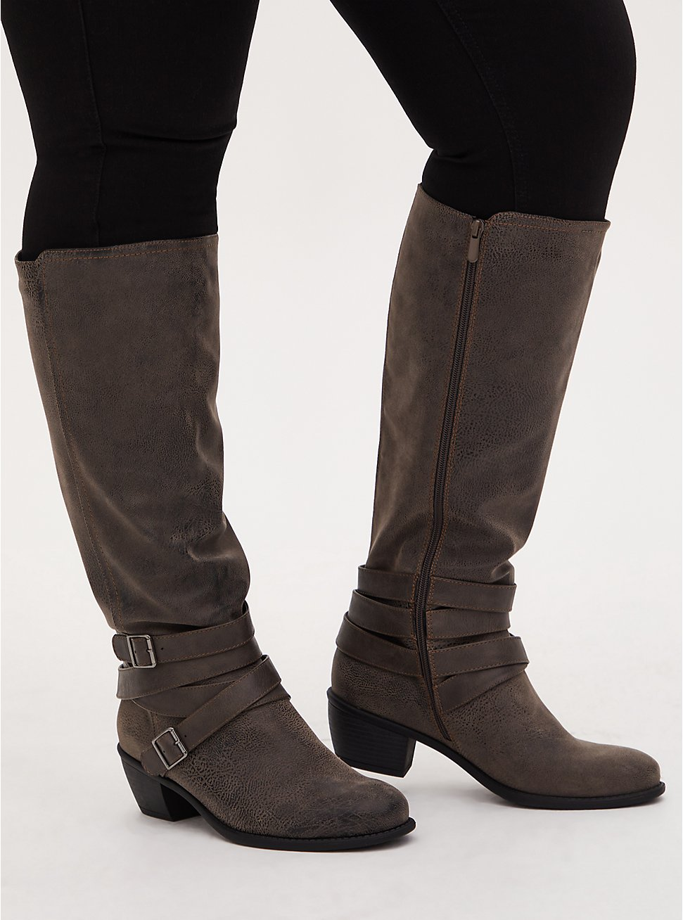 Grey Oiled Faux Leather Strappy Knee-High Boot (WW), GREY, hi-res
