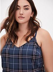 Ava - Navy Plaid Stretch Challis Lace Trim Cami, PLAID - NAVY, alternate