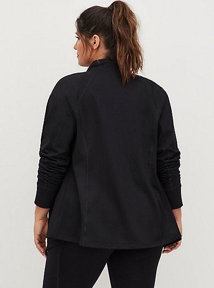 Plus Size Black Jersey Active Zip Jacket, DEEP BLACK, alternate