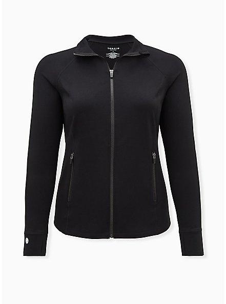 Plus Size Black Jersey Active Zip Jacket, DEEP BLACK, hi-res