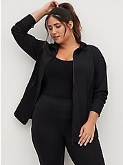 Black Jersey Active Zip Jacket, DEEP BLACK, hi-res