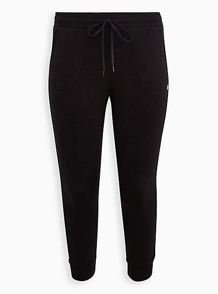 Classic Fit Crop Active Jogger - Terry Black, DEEP BLACK, hi-res