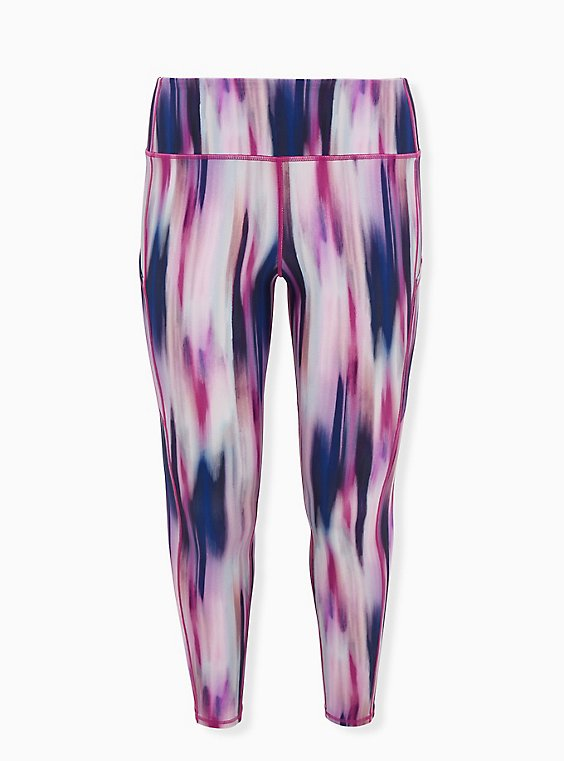 Multi Watercolor Stripe Wicking Active Legging with Pockets, , flat