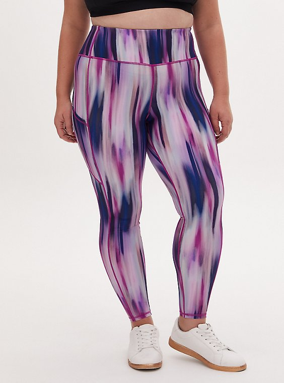 Plus Size Multi Watercolor Stripe Wicking Active Legging with Pockets, , hi-res