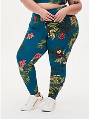 Teal Floral Crop Wicking Active Legging with Pockets, FLORAL - TEAL, hi-res