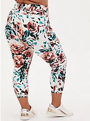 White Watercolor Floral Crop Wicking Active Legging with Pockets, FLORAL - BLUE, alternate