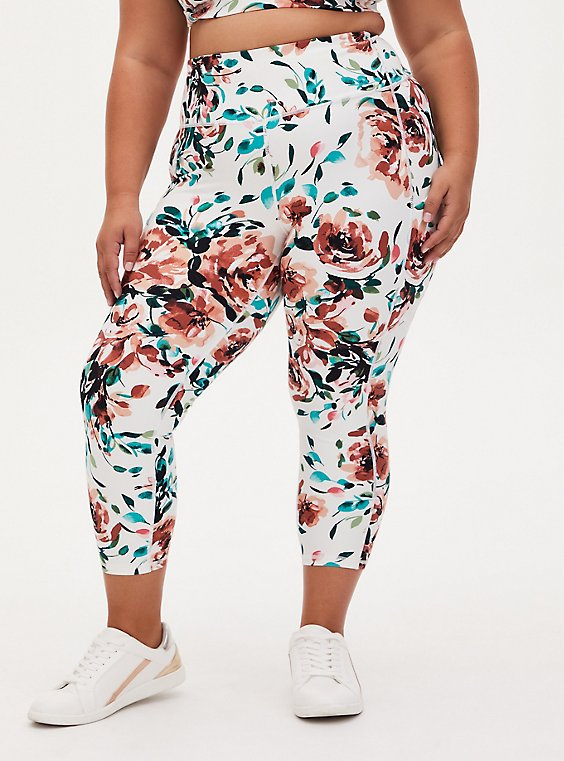 White Watercolor Floral Crop Wicking Active Legging with Pockets, , hi-res