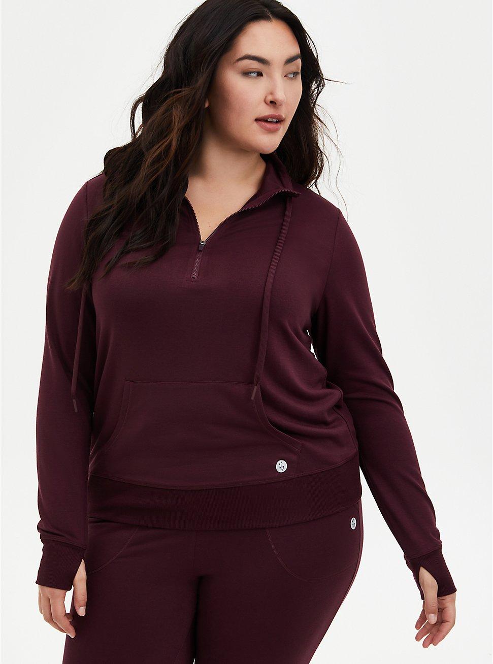 Burgundy Purple Half-Zip Front Active Pullover, WINETASTING, hi-res