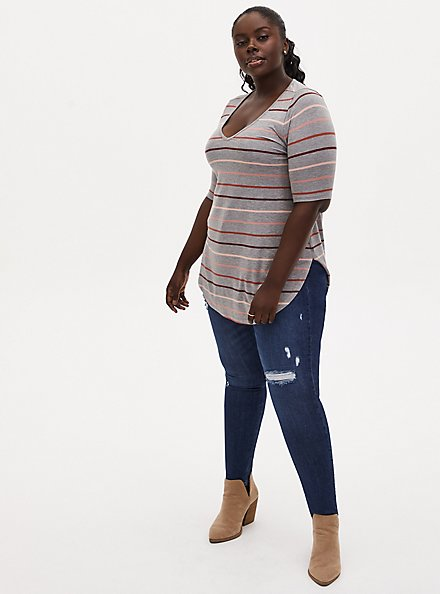 Plus Size Favorite Tunic Tee - Super Soft Multi Stripe Heather Grey, HEATHER GREY, alternate