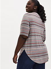 Favorite Tunic Tee - Super Soft Multi Stripe Heather Grey, HEATHER GREY, alternate