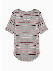 Favorite Tunic Tee - Super Soft Multi Stripe Heather Grey, HEATHER GREY, hi-res