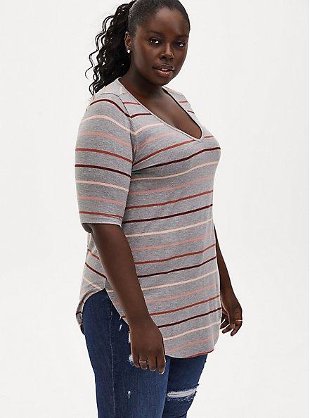 Plus Size Favorite Tunic Tee - Super Soft Multi Stripe Heather Grey, HEATHER GREY, hi-res