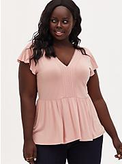 Plus Size Super Soft Peach Lace Trim Babydoll Top, BLUSH, hi-res