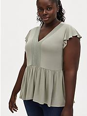 Plus Size Super Soft Sage Green Lace Trim Babydoll Top, SEAGRASS, hi-res