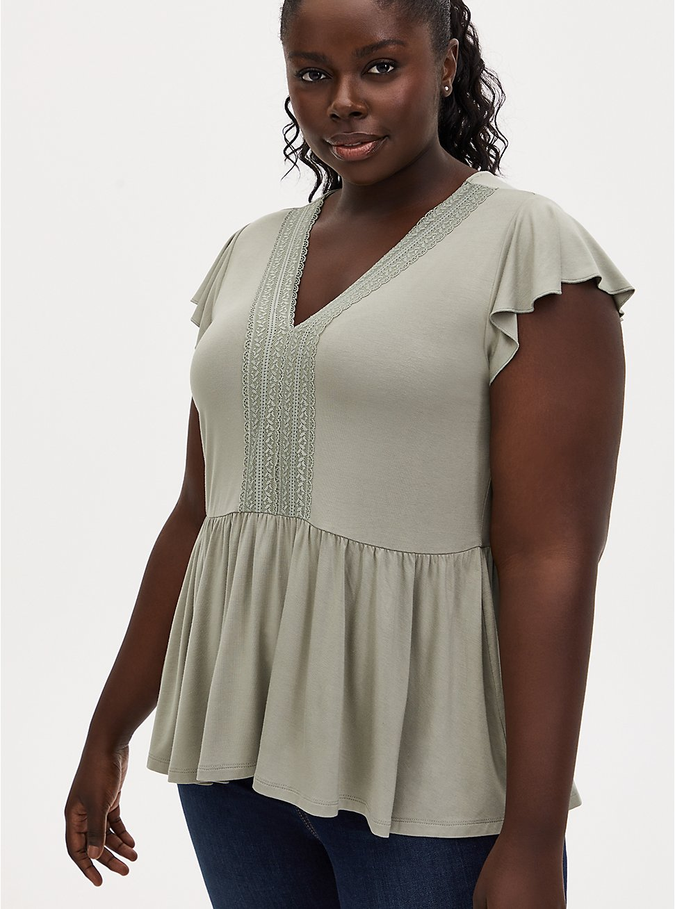 Super Soft Sage Green Lace Trim Babydoll Top, SEAGRASS, hi-res