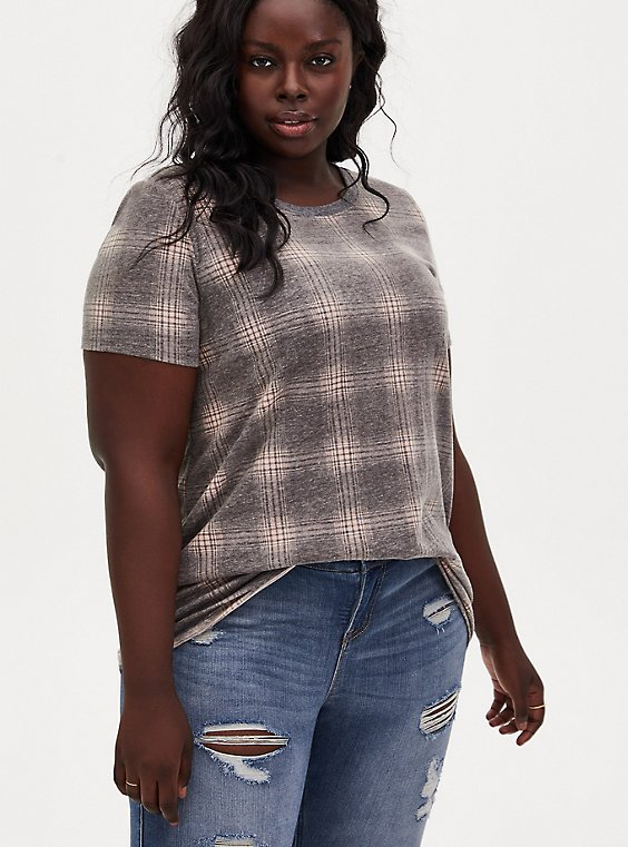 Plus Size Classic Fit Tee - Vintage Burnout Plaid Black & Peach, , hi-res