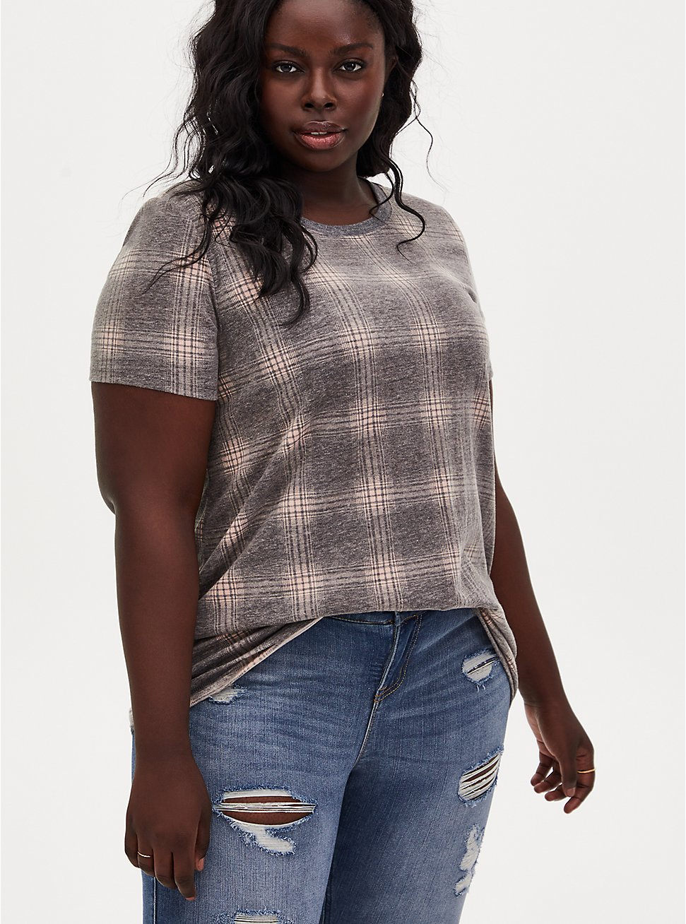 Classic Fit Tee - Vintage Burnout Plaid Black & Peach, PEACH BEIGE, hi-res