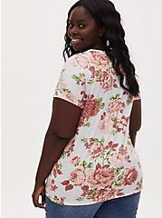 Classic Fit Crew Tee - Vintage Burnout Floral White, CLOUD DANCER, alternate