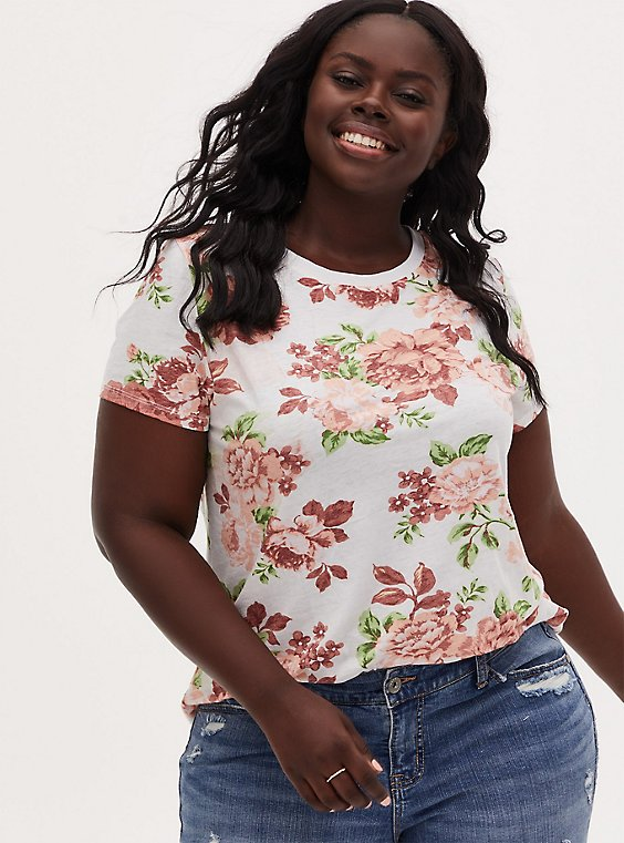 Plus Size Classic Fit Crew Tee - Vintage Burnout Floral White, , hi-res