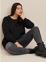 Black Terry Crew Neck Sweatshirt, DEEP BLACK, hi-res